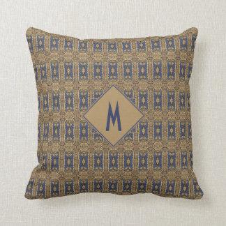 Almofada Monograma azul do teste padrão de Nouveau da arte