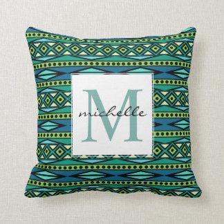 Almofada Monograma azul & verde asteca tribal geométrico