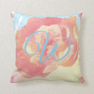 Almofada Monograma com as aguarelas do rosa do azul e do