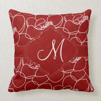Almofada Monograma da magnólia do vermelho rico e do branco