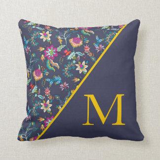 Almofada Monograma floral amarelo cor-de-rosa dos azuis