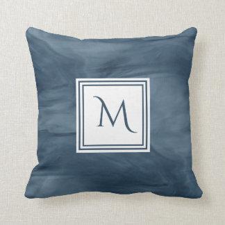 Almofada Monograma moderno de mármore subtil dos azuis