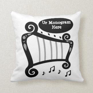Almofada Monograma preto e branco da harpa