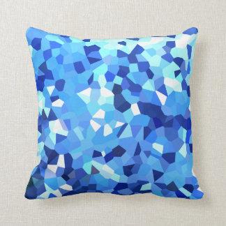 Almofada Mosaico azul e branco cristalizado moderno do
