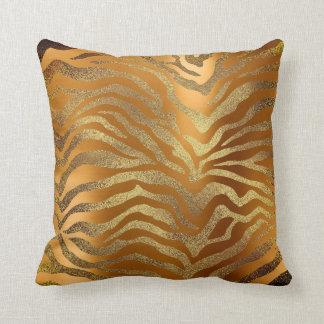Almofada Mostarda Glam da pele animal da zebra do ouro