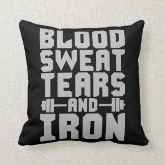 Almofada Motivação do exercício - sangue, suor, rasgos, e