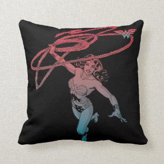 Almofada Mulher maravilha com linha azul vermelha arte do