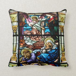 Almofada Nascimento da janela de vitral de Jesus