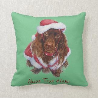 Almofada Natal bonito da arte do realista do cão do spaniel