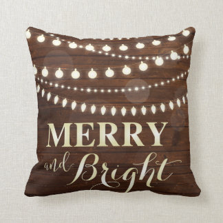 Almofada Natal decorativo das luzes do fundo de madeira