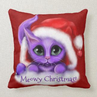 Almofada Natal roxo de Meowy do gatinho no vermelho