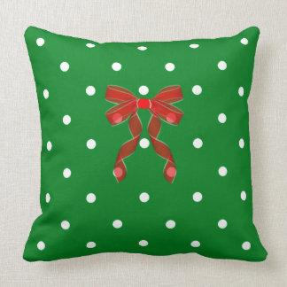 Almofada Natal-Verde-Polca-Ponto-Vermelho-Arco
