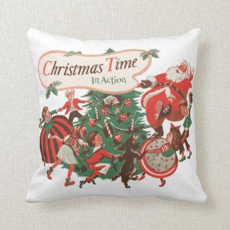 Almofada Natal vintage Papai Noel e crianças da dança