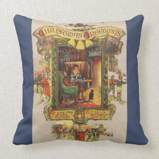 Almofada Natal vintage que cumprimenta o travesseiro