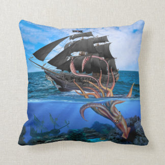 Almofada Navio de pirata contra o calamar gigante