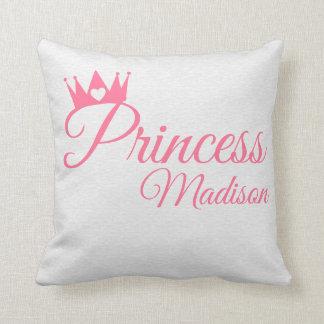 Almofada Nome cor-de-rosa da princesa Coroa Coração Tiara
