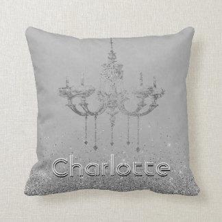 Almofada Nome de prata cinzento do brilho do candelabro