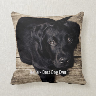 Almofada Nome preto personalizado da foto do cão do