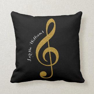 Almofada nota musical de clef de triplo com seus ouro &
