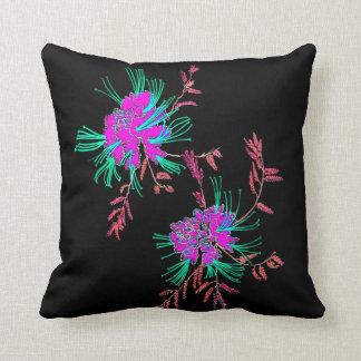 Almofada O Aqua cor-de-rosa oriental floresce o preto