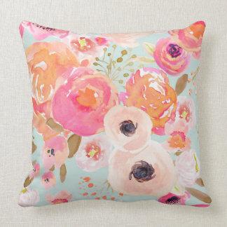 Almofada O azul da flor de Indy cora travesseiro floral