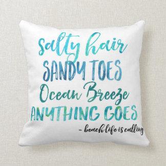 Almofada O cabelo salgado Sandy Toes o travesseiro