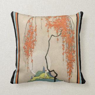 Almofada O coral oriental do art deco floresce travesseiro