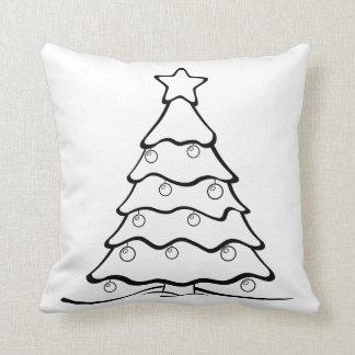 Almofada O divertimento colore-me árvore de Natal esperto