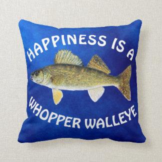 """Almofada O divertimento """"felicidade é"""" Walleye Pike no azul"""