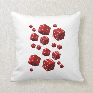 Almofada O dobro vermelho branco dos dados do travesseiro