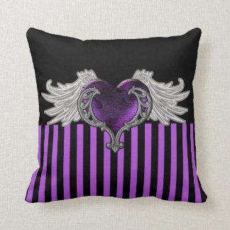 Almofada O gótico Purple Heart com anjo voa o travesseiro