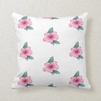 Almofada O hibiscus cor-de-rosa do vintage floresce o coxim