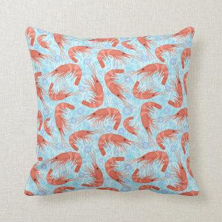 Almofada O oceano coral do camarão do camarão borbulha azul