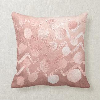Almofada O ouro do rosa do rosa cora pontos do ziguezague