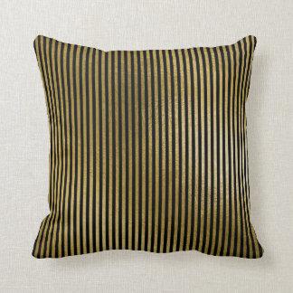 Almofada O ouro metálico preto listra linhas luxo mínimo