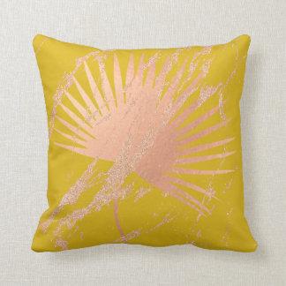 Almofada O ouro tropical do rosa do rosa da folha cora