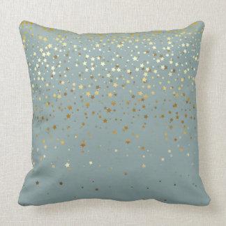 Almofada O pequeno ouro interno Stars o Travesseiro-Seafoam