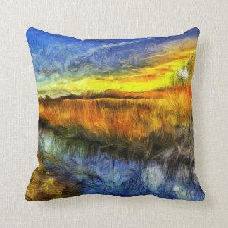 Almofada O rio Van Gogh do por do sol