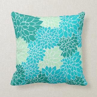 Almofada O verde azul do Aqua da cerceta floresce o