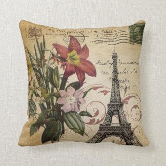 Almofada O vintage botânico do lírio scripts a torre Eiffel