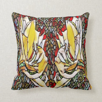Almofada o vitral floresce o travesseiro decorativo