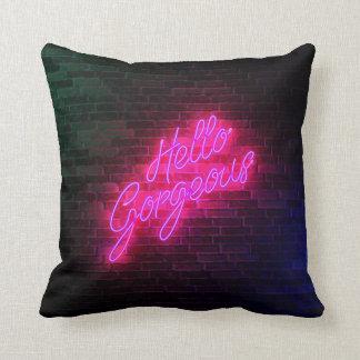 Almofada Olá! lindo - luz do sinal de néon