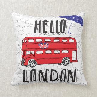 Almofada Olá! sinal indicado por letras da mão de Londres |