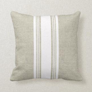 Almofada Olhar de linho com o travesseiro branco da listra