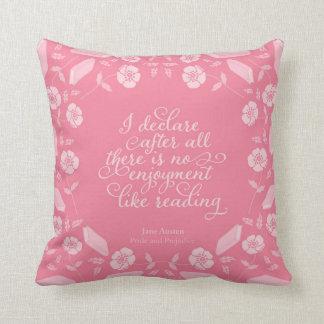 Almofada Orgulho de Jane Austen & citações Bookish florais