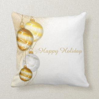 Almofada Ornamento brancos da bola do ouro do Natal