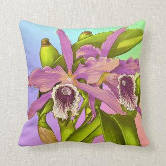 Almofada Orquídeas cor-de-rosa coloridas