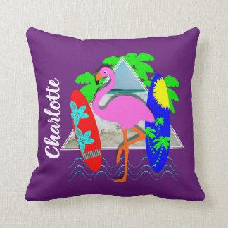Almofada Os conselhos de surf surfando do flamingo