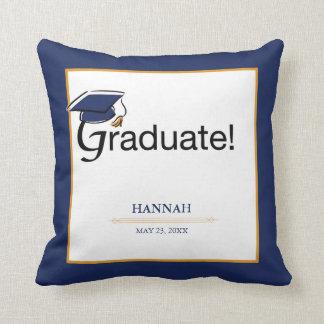 Almofada Os parabéns graduam-se, chapéu, borla, azul, ouro