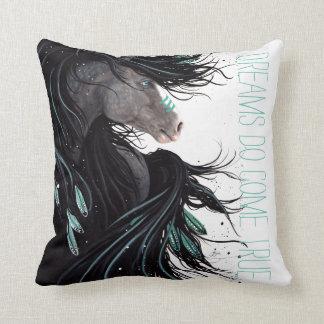 Almofada Os sonhos vêm travesseiro verdadeiro do cavalo por